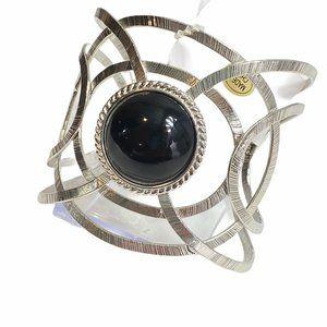 Etched Cutout Onyx n Silver Cuff Bangle Bracelet